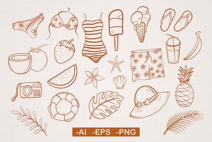 Tropical Summer Vibes Hand drawn Illustration