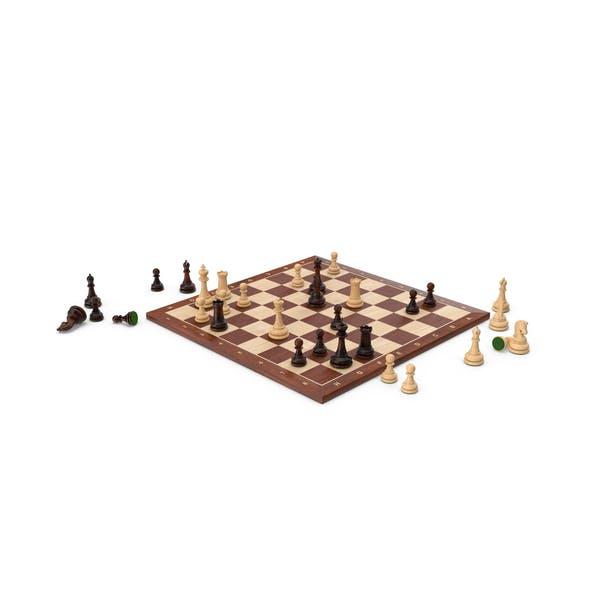 Chess Set Wooden Green Velvet
