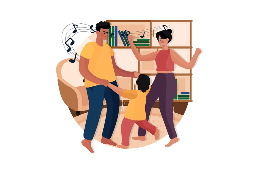Happy Family Dancing Together at Home