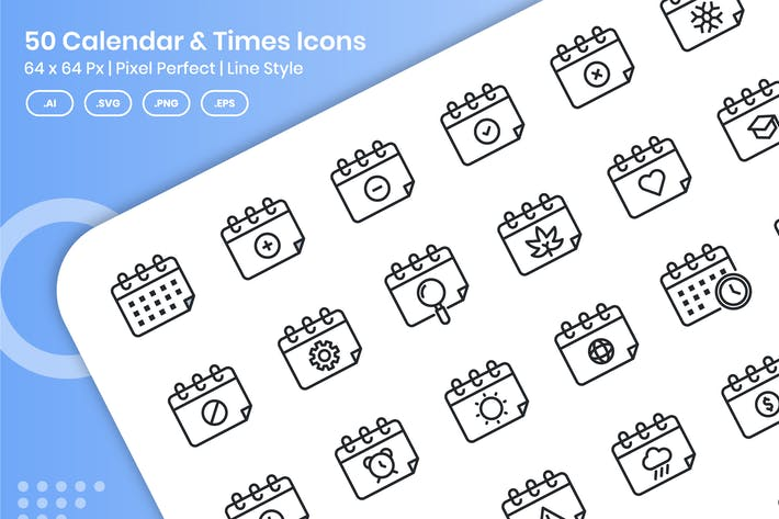 Thumbnail for 50 Calendar & Times Icons Set - Line