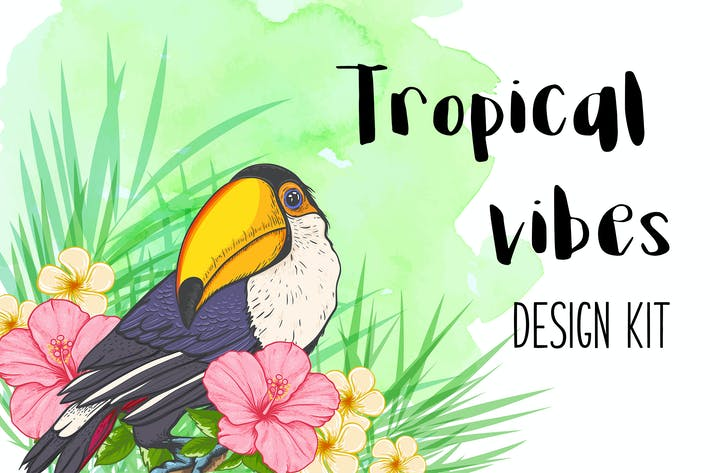 Thumbnail for Tropical Vibes Vector Design Kit