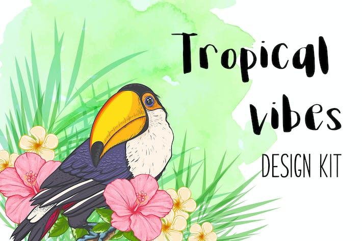 Thumbnail for Tropical Vibes Vektor Design Kit
