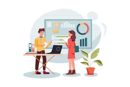 Marketingmitarbeiter, der Marketingdaten analysiert