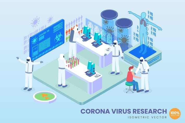 Thumbnail for Isometrische Corona-Virus Forschung Vektor konzept