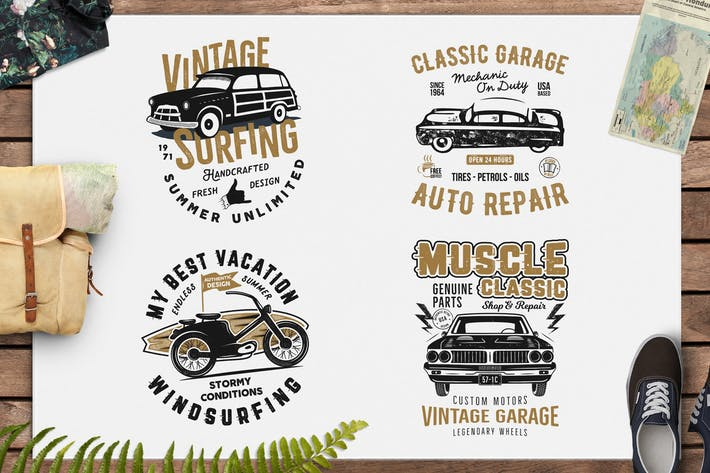 Thumbnail for Summer Surf T-Shirt and Classic Garage Emblems