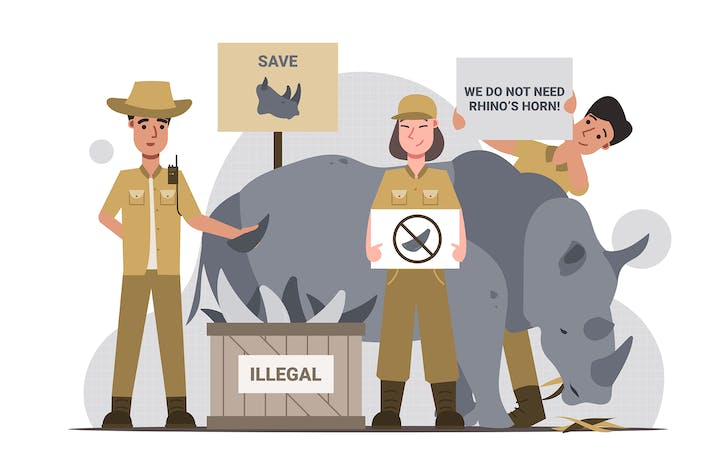 Wildlife Conservation - Flat Illustration