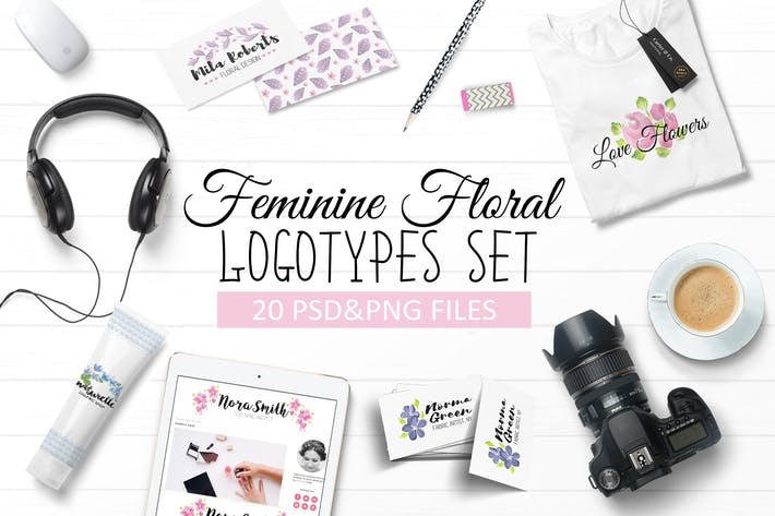 Thumbnail for Handpainted Feminine Floral Logos Set