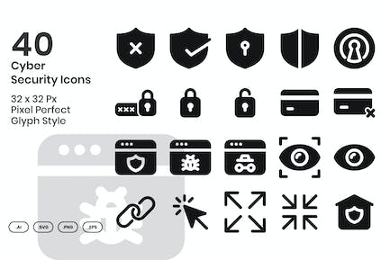 40 Cyber Security Icons Set - Glyph