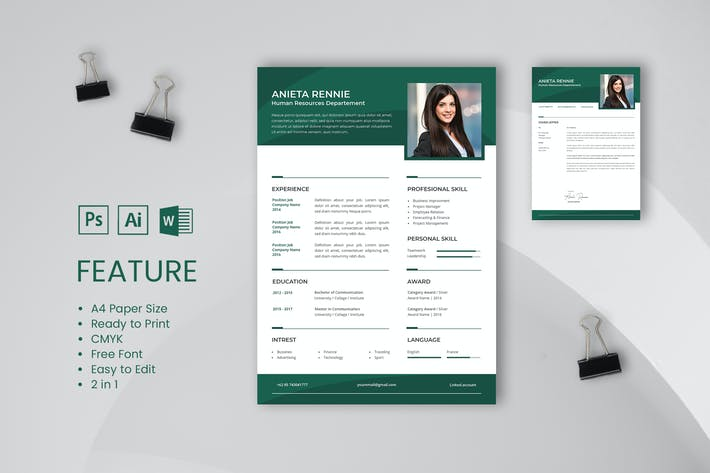 Thumbnail for Professional CV And Resume Template Rennie