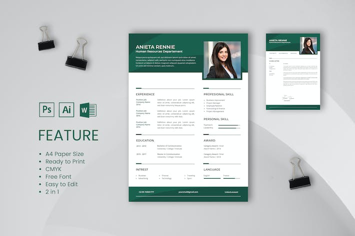 Professional Cv And Resume Template Rennie By Uicreativenet