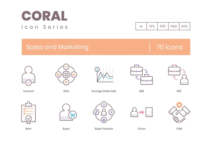Thumbnail for 70 Sales and Marketing Line Icons
