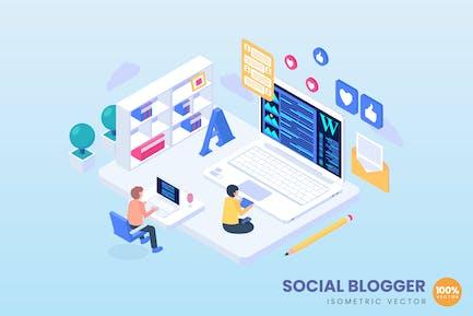 Isometrisches Social Blogger-Konzept