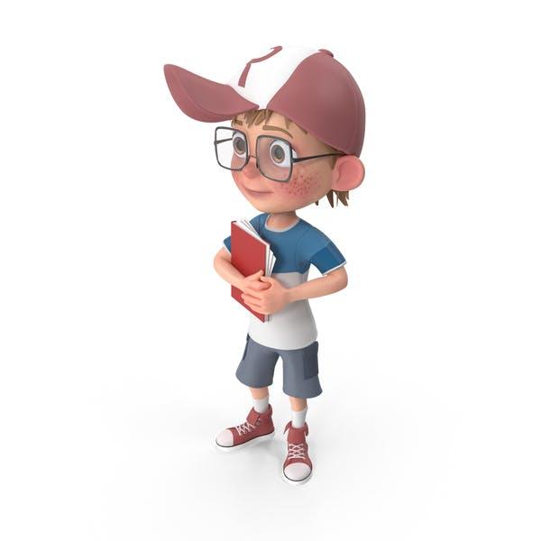 Thumbnail for Cartoon Boy Holding Notepad