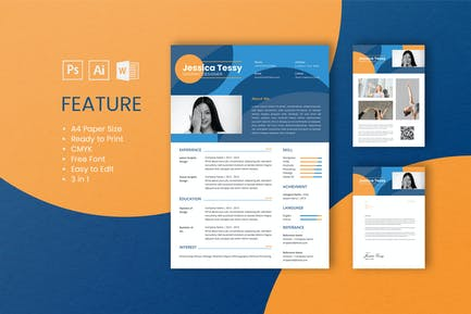 Professional CV And Resume Template Tessy