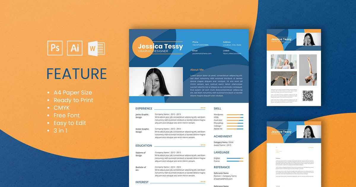 Download Professional CV And Resume Template Tessy by WPBootstrap