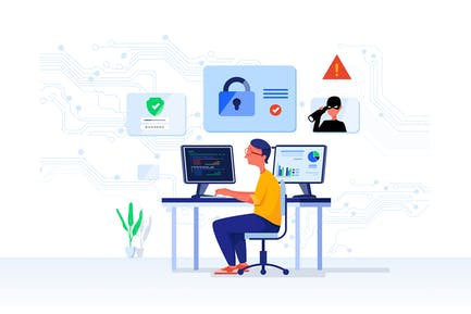 Cyber Security Analyst Vector Illustration