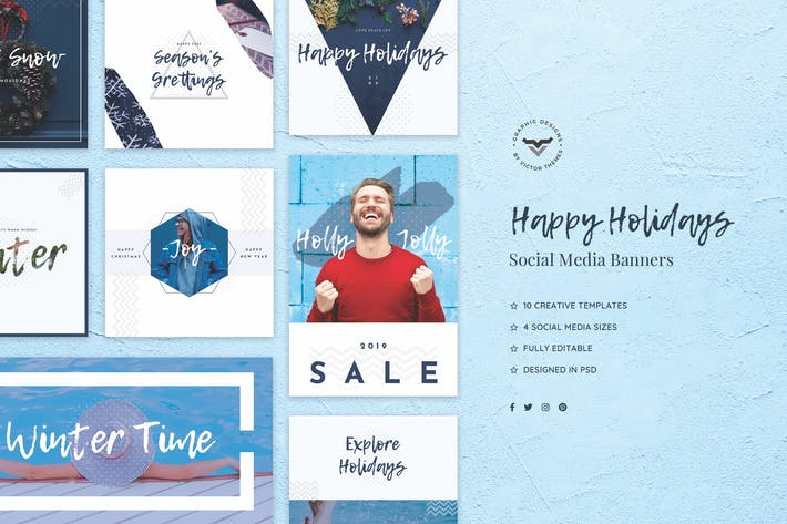Thumbnail for Happy Holidays Social Media Banners