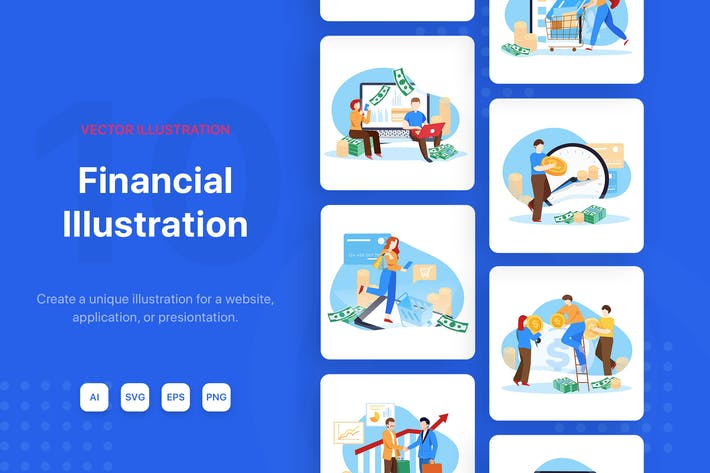 Cover Image For Business Financial Vector Illustrations
