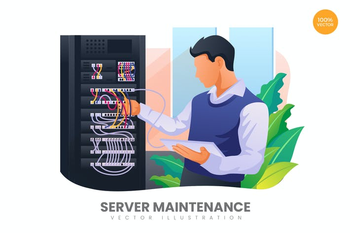 Thumbnail for Server Maintenance Vector Illustration Concept