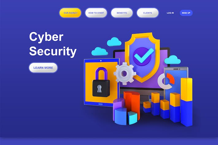Thumbnail for Cyber Security 3D Illustration Landing Page