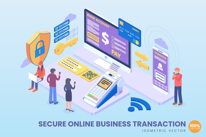 Isometric Secure Online Business Transaction