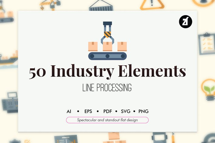Thumbnail for 50 Industry elements in flat design
