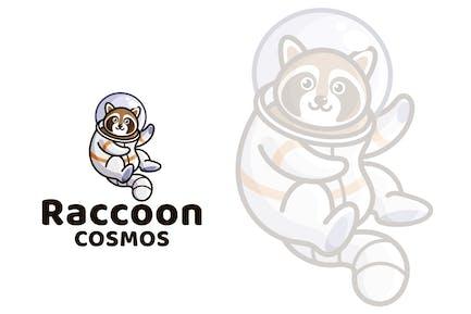 Raccoon Cosmos Cute Kids Logo Template