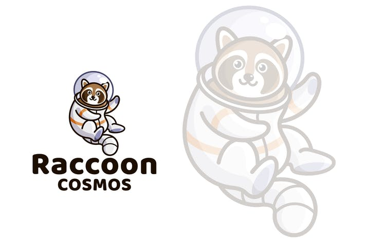 Thumbnail for Raccoon Cosmos Cute Kids Logo Template