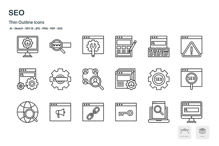 Thumbnail for SEO thin outline icons