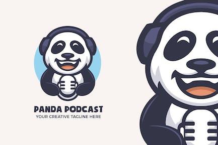 Panda Podcast Unterhaltung Maskottchen Charakter Logo