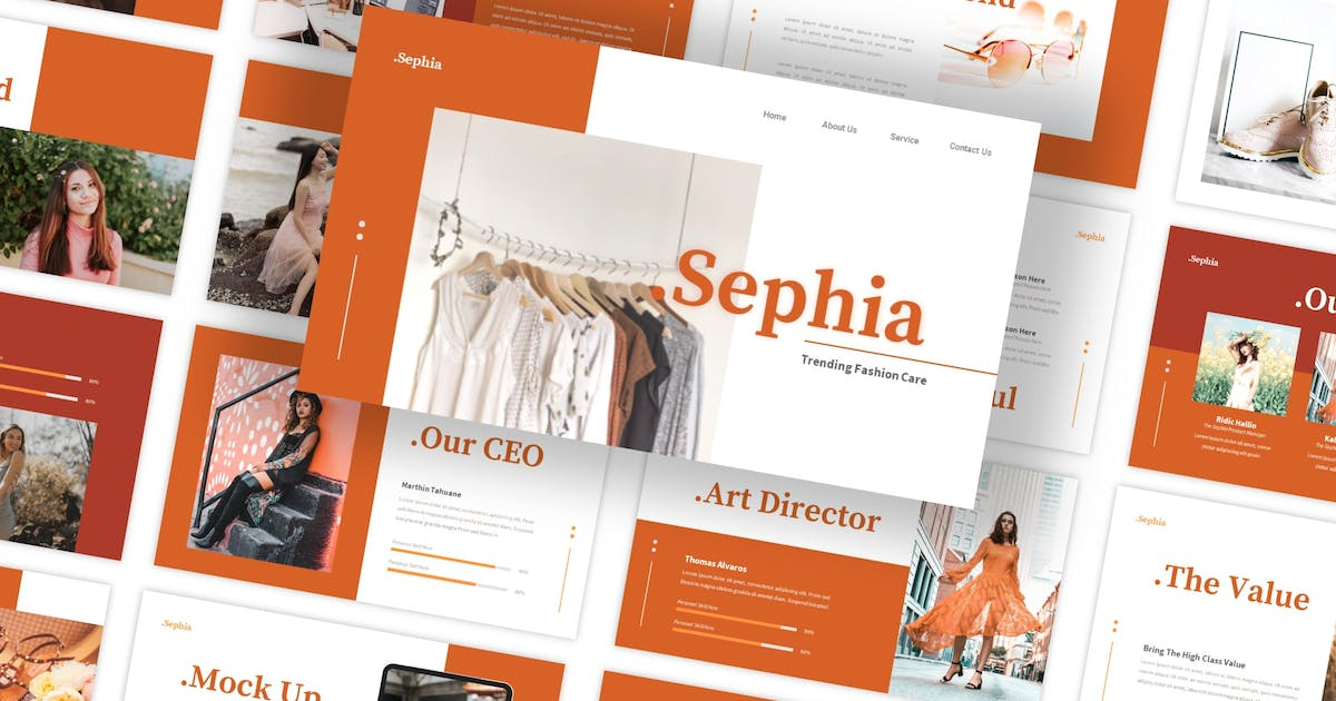 Download Sephia - Fashion Care PowerPoint Template by CocoTemplates