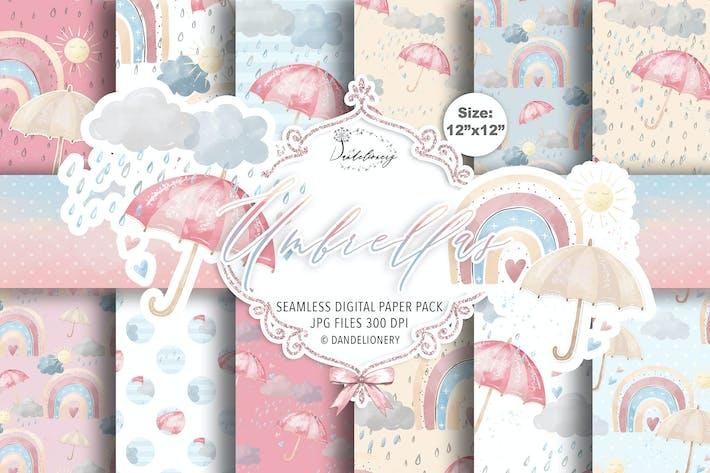 Paquete de papel digital con paraguas acuarela