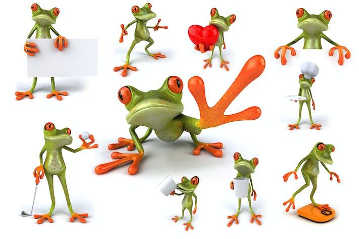 10 fun green Frogs !