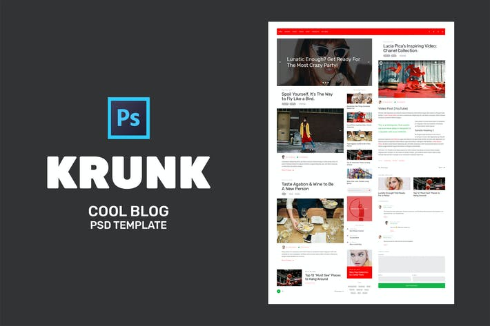 Thumbnail for Krunk - Cool Blog PSD Template