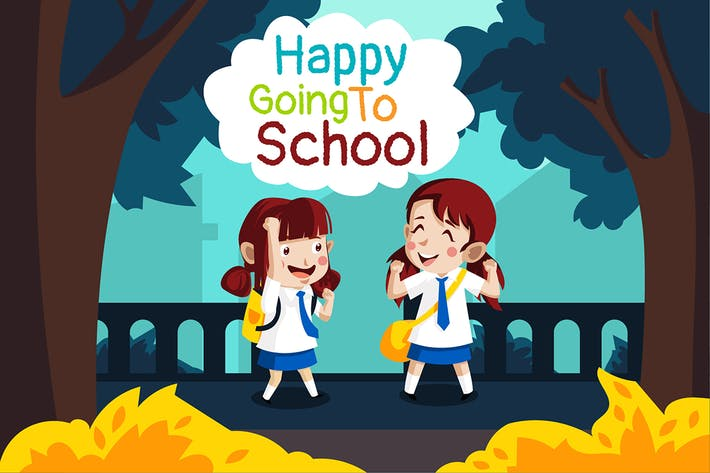 Thumbnail for Happy school - Illustration