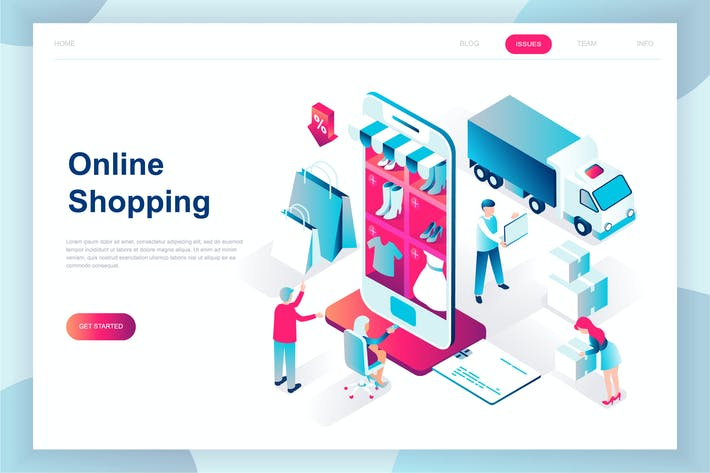 Thumbnail for E-commerce Isometric Landing Page
