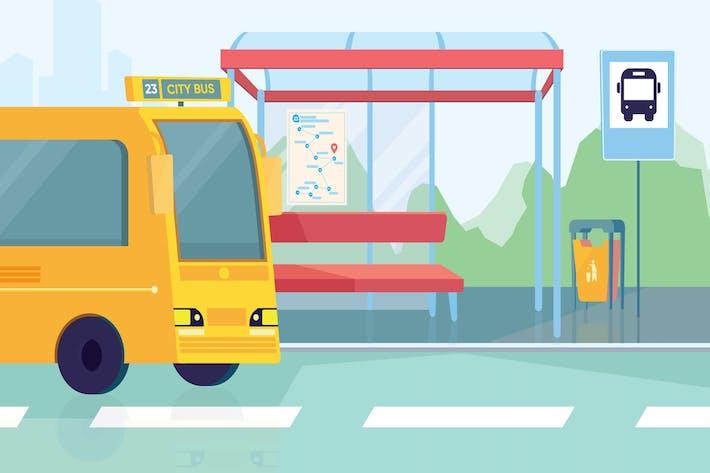 Thumbnail for Bus Station - Illustration Background
