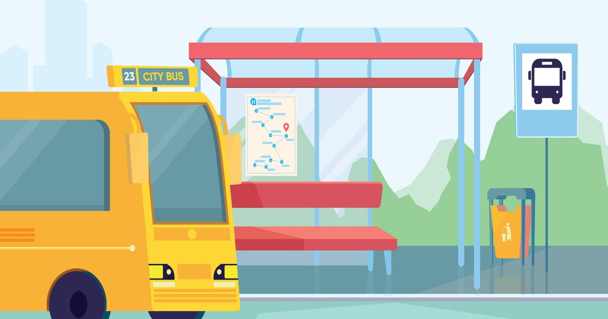 Download Bus Station - Illustration Background by Imapix_