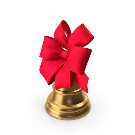 Рождественский колокольчик с большим красным бантом