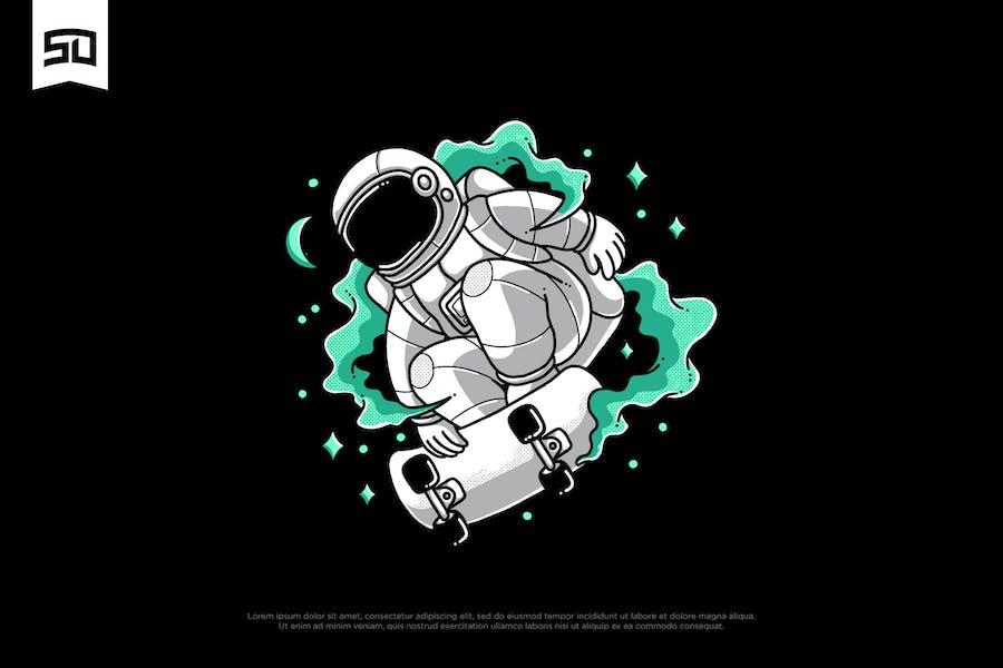 Illustration de conception d'astronaute de patin
