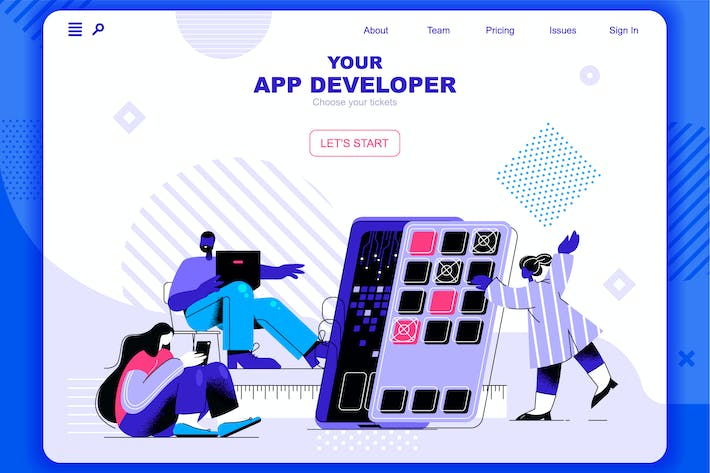 Thumbnail for App Development Flat Concept Landing Page Header
