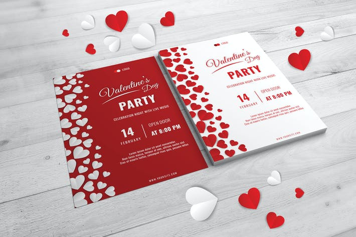 Thumbnail for Flat Hearts Valentine Party Poster Template