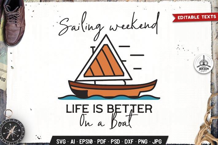 Парусные выходные Значок Вектор Ретро Графический Логотип