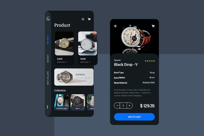 Cover Image For Watch Ecommerce Mobile UI - FV