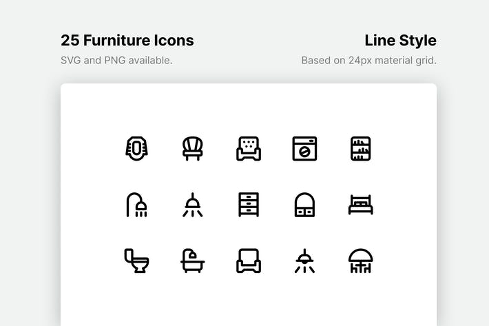 Thumbnail for Furniture Line Icons