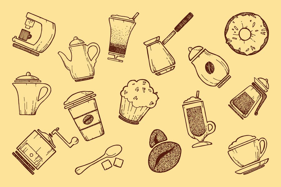 Coffee icons & pattern