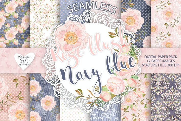 Thumbnail for Watercolor Peony flowers digital paper pack