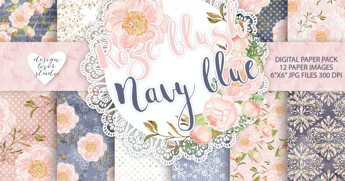 Download Watercolor Peony flowers digital paper pack by designloverstudio