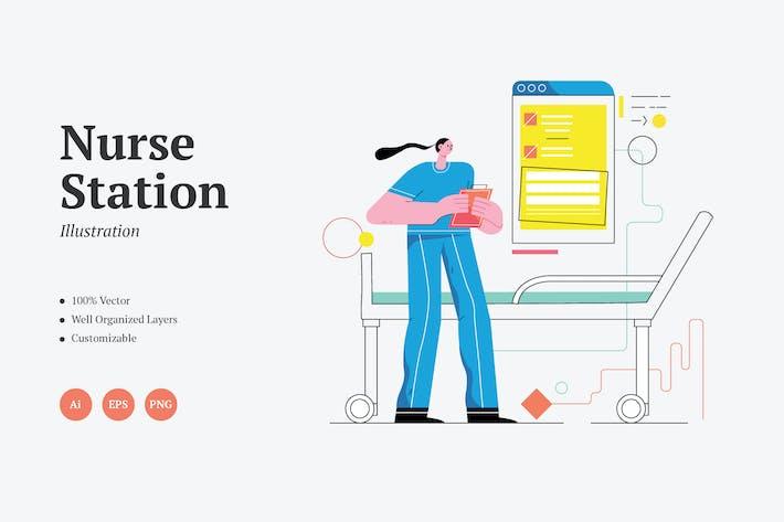 Nurse Station Graphics Illustration