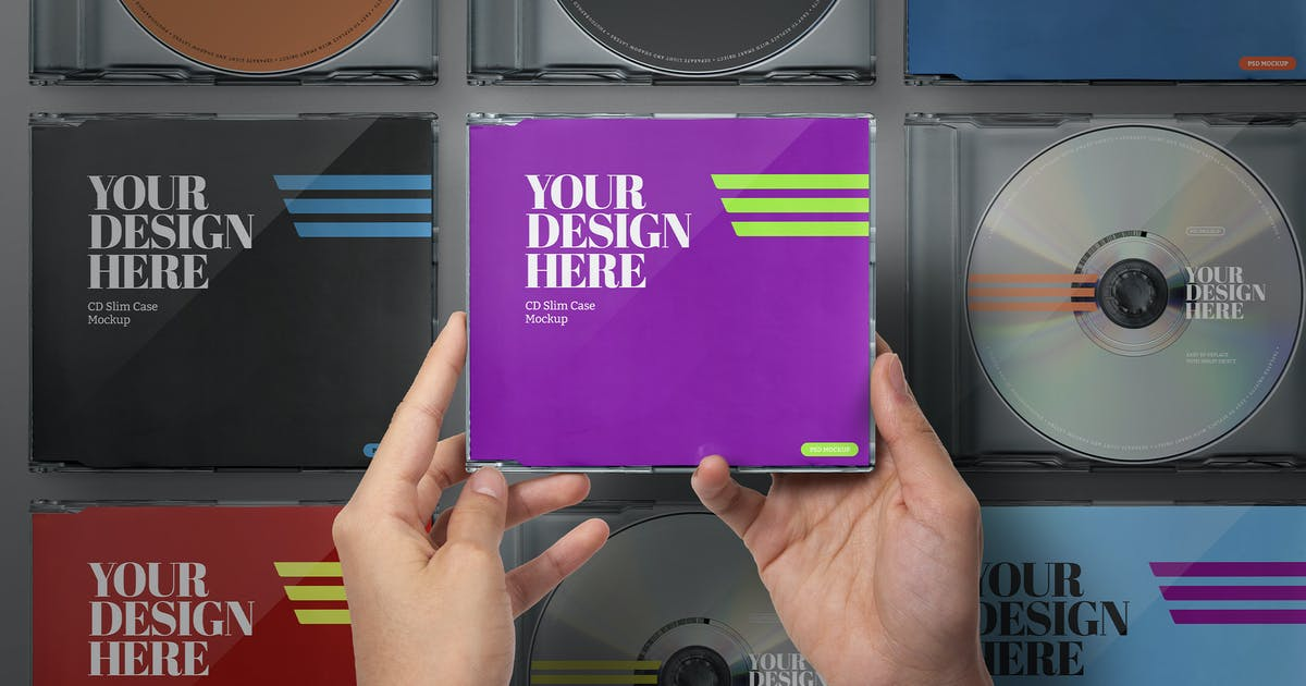 Download Hands Holding CD Case Mockup Slim Set by Easybrandz-AvelinaStudio